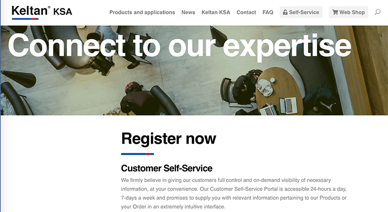 Keltan self service homepage industriagomma